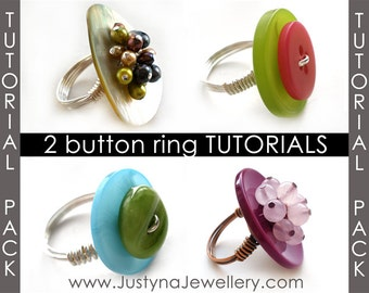 Button Ring Tutorial Sale Pack, Button Jewelry Tutorial, Button Ring Tutorial, Wire Ring Tutorial, Beading Tutorial, Step by Step Pattern