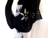 """Silk Scarf, Hand Painted Silk Scarf, Black White Floral, 71"""" x 18"""" Long, Gift For Her"""