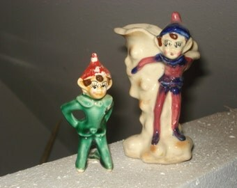 Vintage Pixie Elf Planter Plus Kneeling Pixie