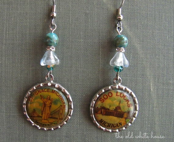 vintage inspired earrings souvenir charms Northern Michigan