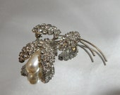 Vintage Tulip Brooch Sparkling Clear Rhinestone and Faux Pearl