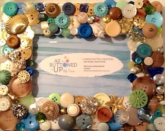 RESERVED ~ CUSTOM ONLY Beach Button Frame in Blu, Aqua Tan and White ~ Coastal Decor ~ Cottage Decor ~ Shabby Chic Frame ~ for 4x6 Photo