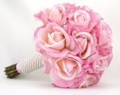 Pink Rose Bridal Bouquet with Real Touch Silk Wedding Flowers Tulle Pearls