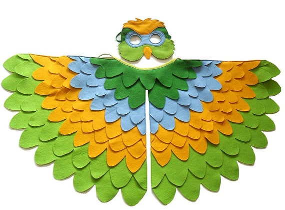 Parrot Costume for Kids Children Bird Wings and Mask Dress up