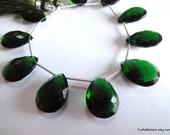 SALE - Chrome Green Quartz Faceted Pear Briolettes - Matched Pair 14 x 19mm