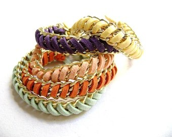 Two Bohemian style Friendship trendy stack bracelets your color choice violet mint soft peach yellow orange eco suede - Play with me