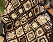 "Shades of Brown Granny Square Afghan - 44""Wx 66""L"