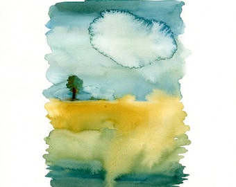 Landscape-Landscape painting-Watercolor-Archival Print from my original watercolor  11x14 inch