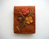 Brown Needle Book Felt Needle Case with Hand Embroidered Felt Flowers Handsewn