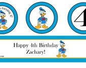 Donald Duck Party Packet, Cupcake Toppers and Water Bottle Labels, DIY