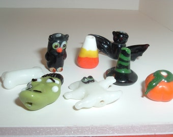 8 Handmade  Halloween  Lampwork Glass Beads