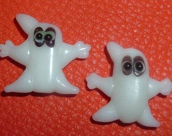 2 Handmade ghost Halloween  Lampwork Glass Beads