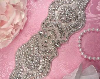 """XR203 Bridal Sash Crystal Rhinestone Applique Silver Beaded 10.5"""" (XR203-slcr)"""