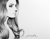 Lana del Rey Fine Art Signed Print Pencil Drawing