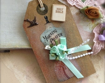 Gift Art Tag Collage Embellishment Shabby Whimsical Vintage Inspired Scrapbooking - Morning Prayer