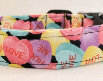 Sweet Candy Conversation Hearts Dog Collar Kiss Me