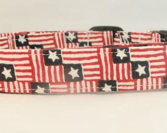 Patriotic Old American Flag Dog Collar Red White Blue