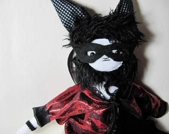 Goth Cat Bat Girl Stuffed Animal Doll