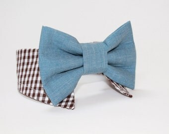 dog bow tie- shirt and bow tie collar-  wedding dog tie- cat tie- pet tie- chambray and gingham