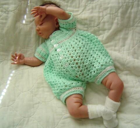 0005 Baby Boy Pattern Newborn To 03 Months Crochet Romper By