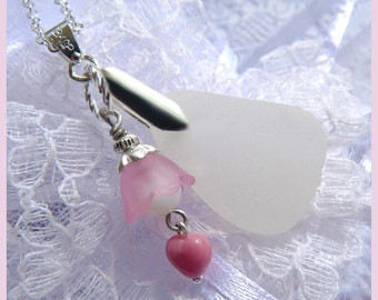 Sweet Little Heart - Frosty White Scottish Sea Glass - Necklace  DC 8522