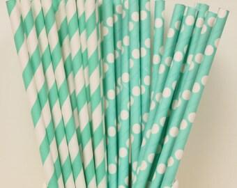 Paper Straws, 25 Aqua Striped and Dots Paper Straws, Striped Straws, Birthday Party Paper Drinking Straws, Wedding Paper Straws, Baby Shower