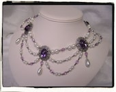 Amethyst and Pearl Collar Renaissance Tudor Necklace Game of Thrones Jewelry