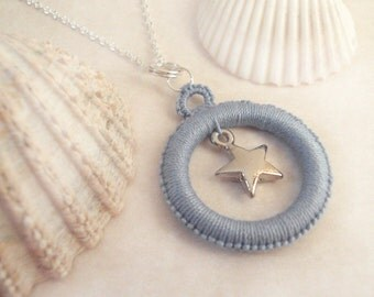 Tatted Blue Pendant - Alys with star charm