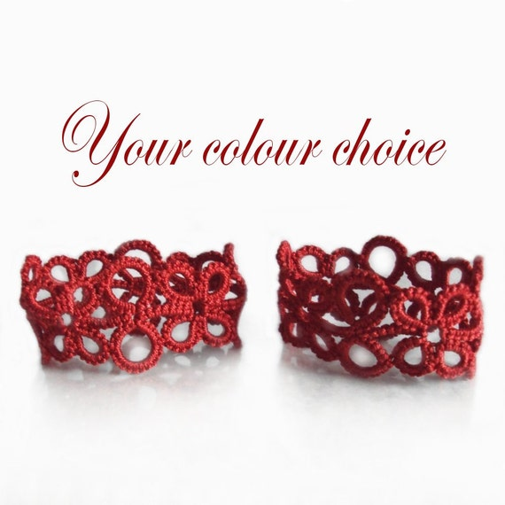 Tatted Napkin Rings - Your choice of colour - Eva (Set of Two) - More Colours Added