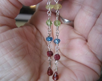 LIQUIDATION SALE=====Handmade Sterling London Blue Topaz and Sapphire Linear Dangle Earrings