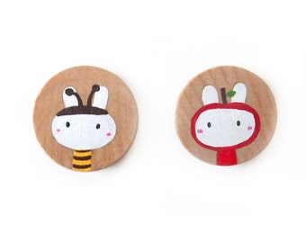 Nature-Themed Bumble Bee and Apple Bunny Rabbit Wooden Magnets