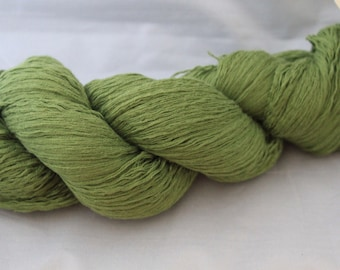 30% off STORE CLOSING SALE Upcycled Green Cotton Yarn, Lace Yarn - 707 Yards