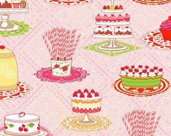 Delicious Wishes Sweet Treats Pixie Stix Cupcake Birthday Party Pink Fabric HG