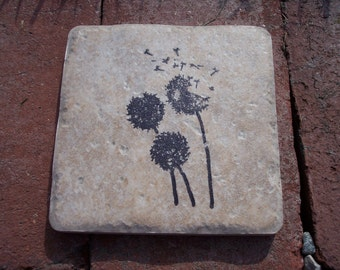 Dandelions blowing in the wind beverage coasters set of four hand stamped