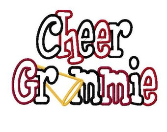 Cheer Grammie 2 Color Embroidery Machine Applique Design 2998 Instant Download