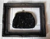 Vintage Black Beaded Floral Clutch-Black glass sequin