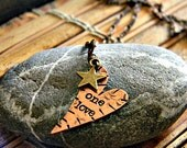 One Love, song quote, copper heart hand stamped necklace