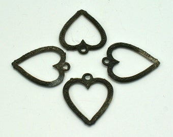 Antique 4 Metal Heart Pendant