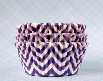 50 Purple Chevron Cupcake Liners Purple Cupcake Liners Baby Shower, BIrthday Party, Wedding Baking Cup