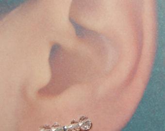 Crystal and Silver Earring Pins, Pair of Ear Sweeps, Ear Crawlers, Earrings