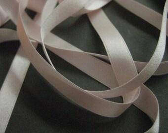 Vintage narrow  pink silk ribbon Victorian era  pale pink 1/2 in wide Y2002