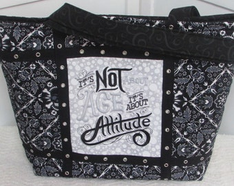 ON SALE Black Bandanna Skull Large Tote Bag Its Not About Age Its About Attitude Purse  / Ready to Ship