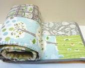 Modern Baby Quilt-Baby Boy Quilt, Backyard Baby Quilt, Toddler Quilt, Modern Patchwork Crib Bedding, Aqua and Gray Grey