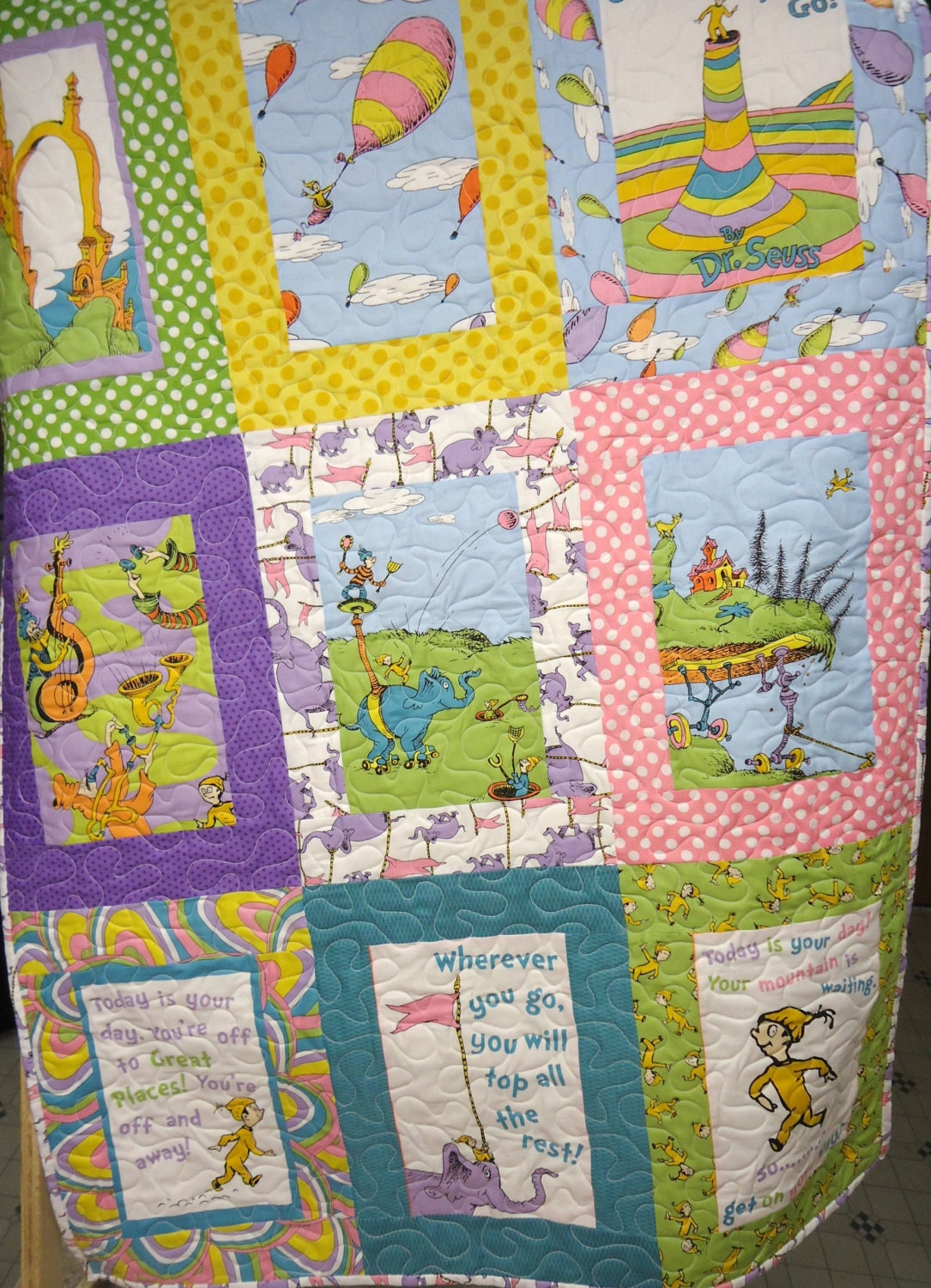 Baby Quilt Patchwork Quilt Baby Dr Seuss Quilt Baby Girl