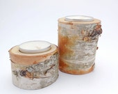 Handmade Birch wood tea light holders