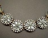 Crystals  Flower Linked Bracelet Wedding Gift  Bracelet