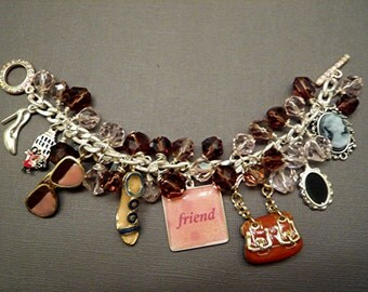 Charm Bracelet Friend Bracelet Beaded Shoes Sun Glasses Purse Necklace