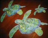 Green & Blue HONU SEA TURTLE Cool Color Ocean Batiks - Fabric Applique with Wonder Under Fusing -