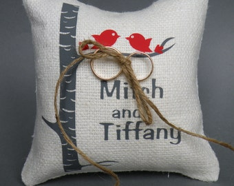 Wedding rustic natural linen Ring Bearer Pillow Red birds on Grey birch tree and linen rope