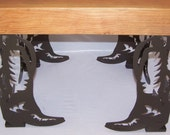 Metal Art Coffee Table or Bench Legs Western Cowboy Boot Style set of 4